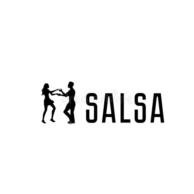 Salsa in the city. Street dancing. Beautiful couple dancing. vector illustration