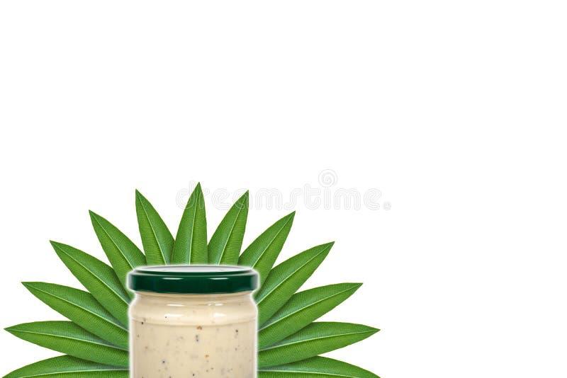 Salsa cremosa con la trufa para las pastas en el tarro de cristal en el fondo de hojas verdes Aislado en blanco noción del origen imagen de archivo