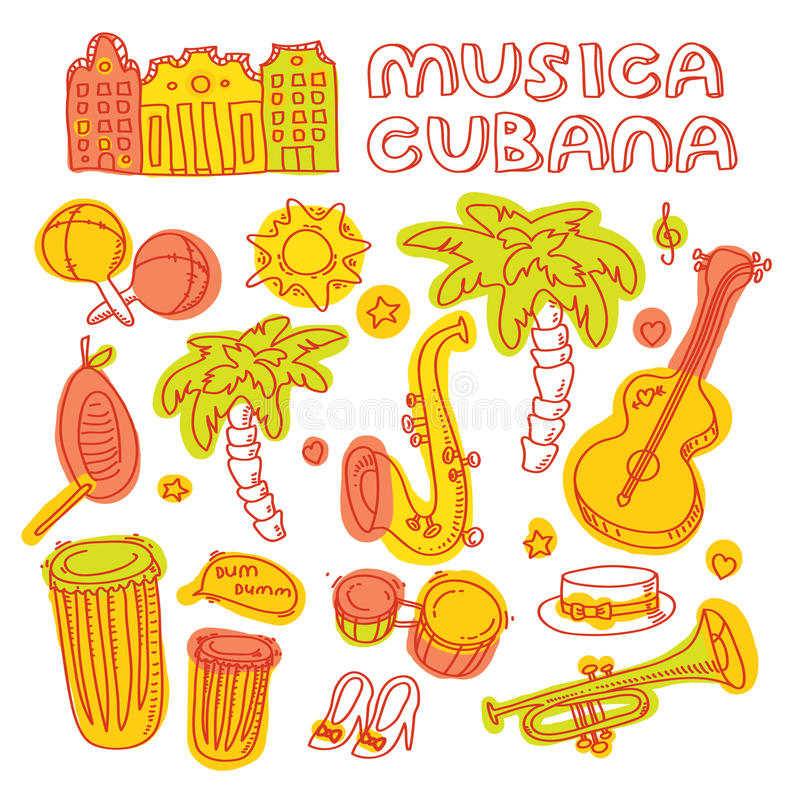 Salsa cuban music and dance illustration with. Modern vector illustration and stylish design element royalty free illustration