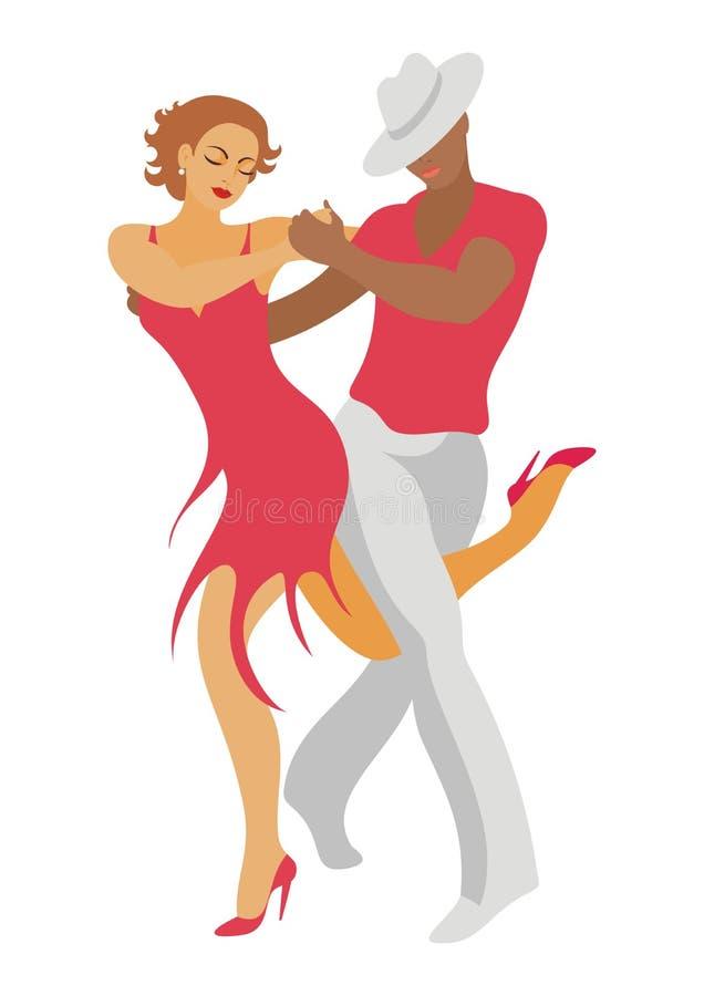 The salsa dance. Lady and gentleman dance salsa vector illustration