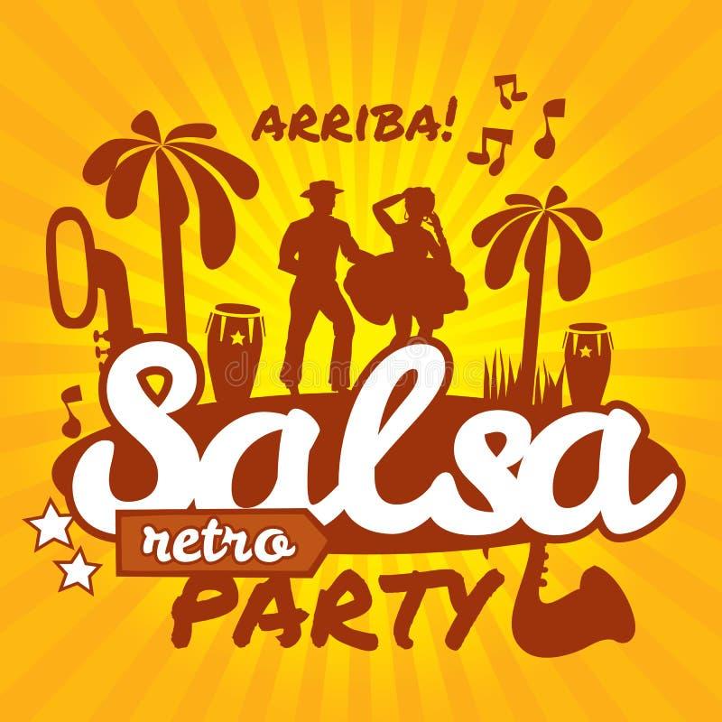 Salsa dancers. Cuban couple dance salsa stock illustration