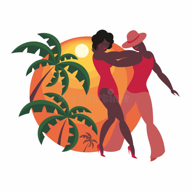 The salsa dancers. Lady and gentleman dance Latin America salsa stock illustration