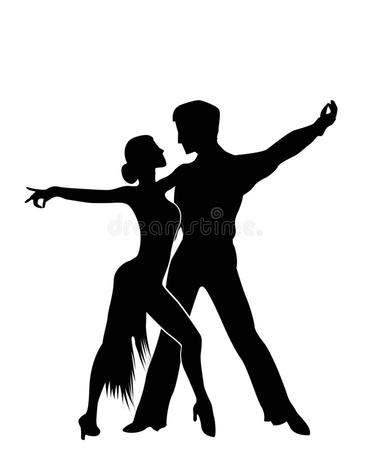 Salsa dancers silhouettes. Isolated and grouped objects over white background vector illustration