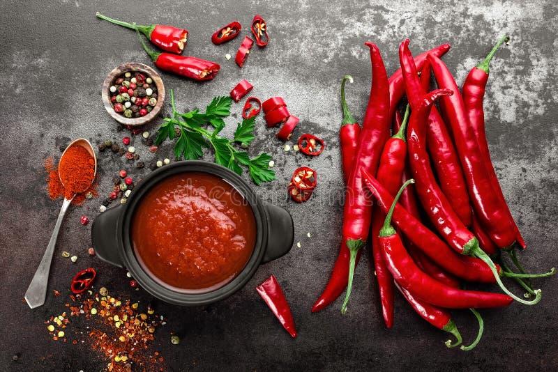 Salsa de chile picante, salsa de tomate fotografía de archivo libre de regalías