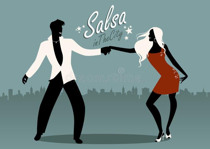 Salsa in de Stad Silhouetten van jonge paar het dansen Latijnse muziek vector illustratie