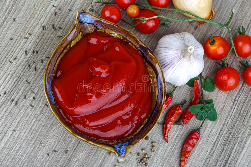 Salsa de tomate de tomate fotografía de archivo