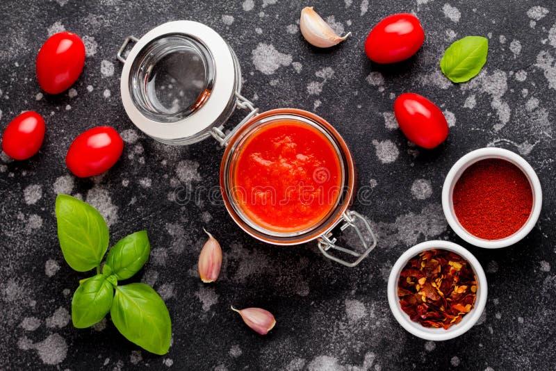 Salsa de tomate roja para las pastas, pizza, comida clásica italiana imágenes de archivo libres de regalías