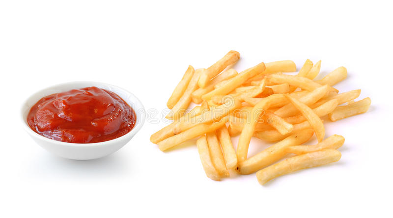 Salsa de tomate y patatas fritas en el fondo blanco fotografía de archivo