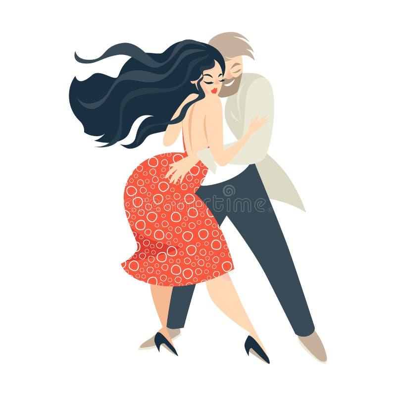 Salsa del baile de los pares de la historieta Danza cubana ilustración del vector