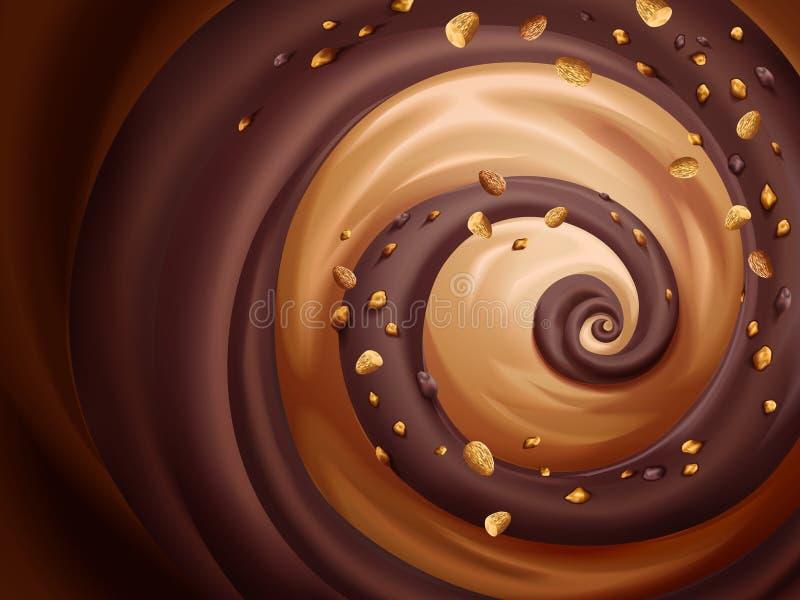 Salsa del chocolate y del caramelo stock de ilustración