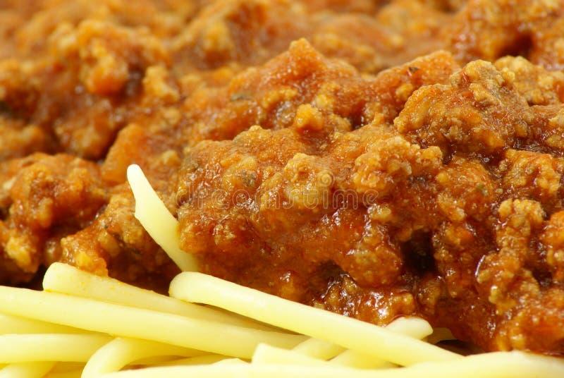 Salsa della carne e degli spaghetti fotografia stock libera da diritti
