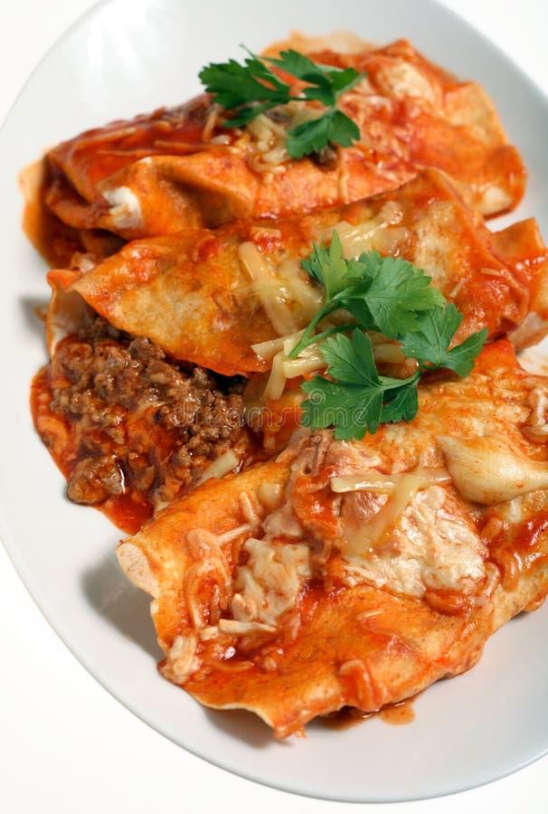 Salsa di formaggio della salsa dei Enchiladas fotografia stock libera da diritti