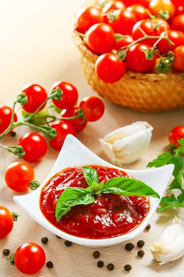 Salsa di pomodori rossa fotografia stock