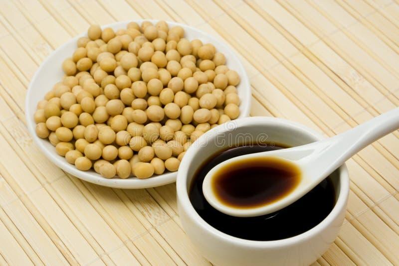 Salsa e fagioli di soia fotografia stock