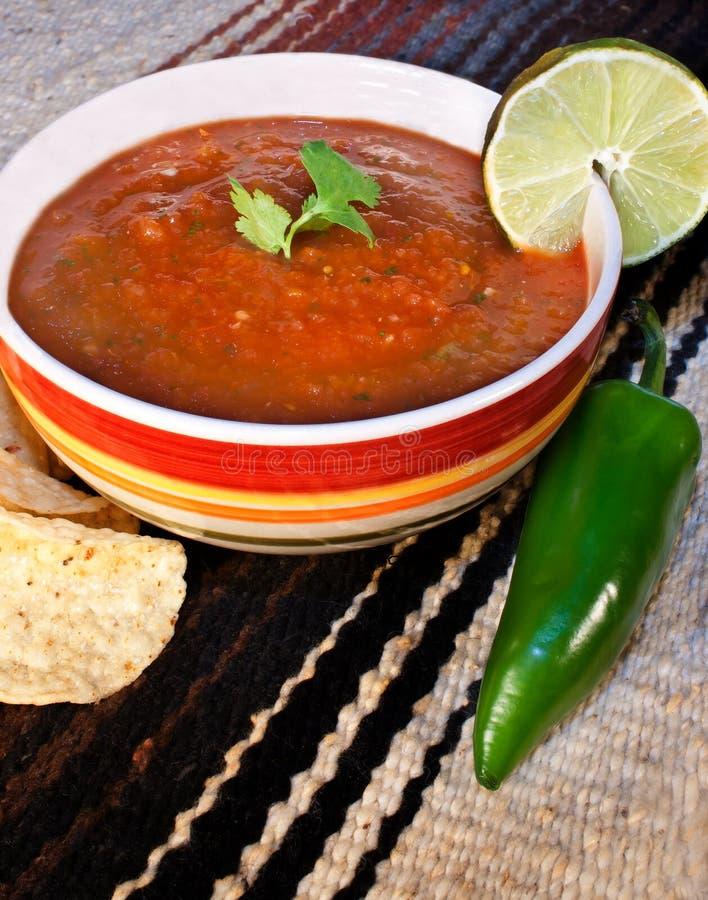 Salsa en Tortillaspaanders stock afbeeldingen