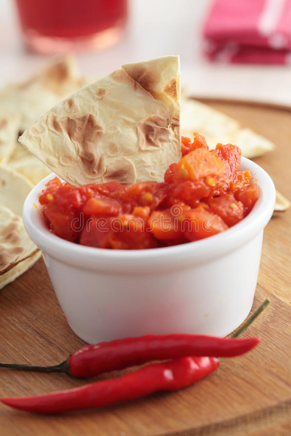 Salsa i tortilla układ scalony fotografia stock