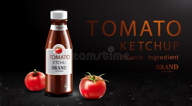 Salsa ketchup con frutta fresca e fondo nero illustrazione di stock