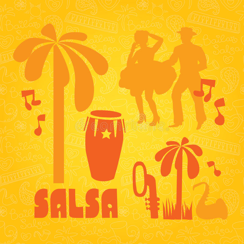Salsa lettering with silhouettes of palms. Background for poster, banner party or school stock illustration