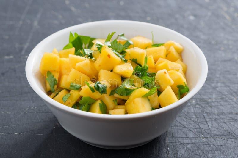 Salsa with mango, coriander and curry paste. Close-up stock photos