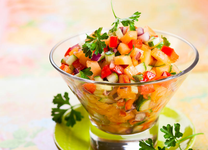 Salsa with melon stock photos