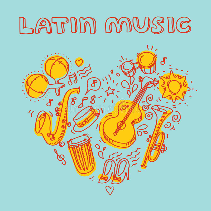 Salsa music and dance illustration with musical. Vector modern and stylish design elements set vector illustration