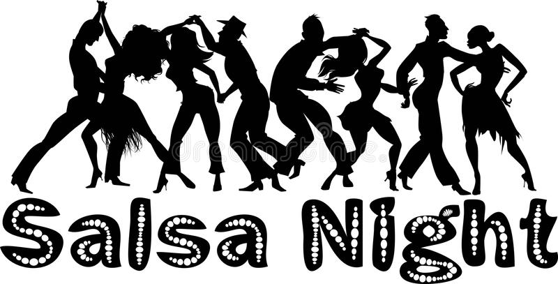 Salsa night banner vector illustration