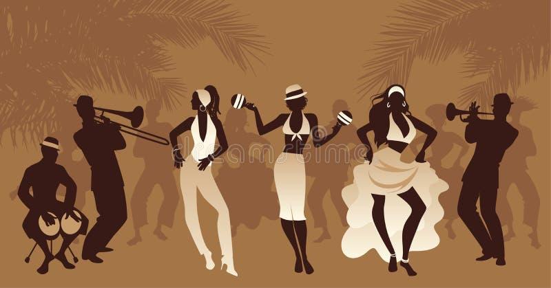 Salsa-Partei-Zeit Gruppe von drei Mädchen, die lateinische Musik und den Musiker drei spielt Bongos, Trompete und Posaune tanzen stock abbildung