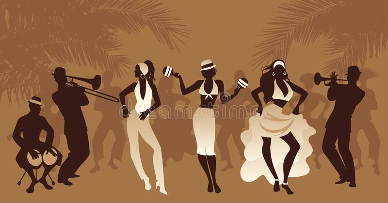Salsa Party Time. Group of three girls dancing latin music and three musician playing bongos, trumpet and trombone. People and palm trees on the background stock illustration