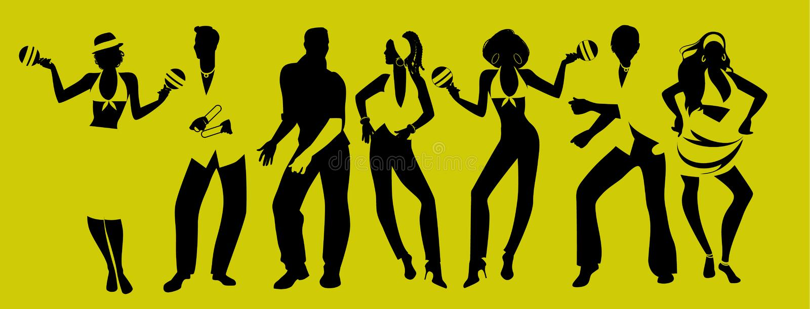 Salsa Party Time. Group of three men and four women dancing latin music. Two girls playing maracas and man playing the Claves royalty free illustration