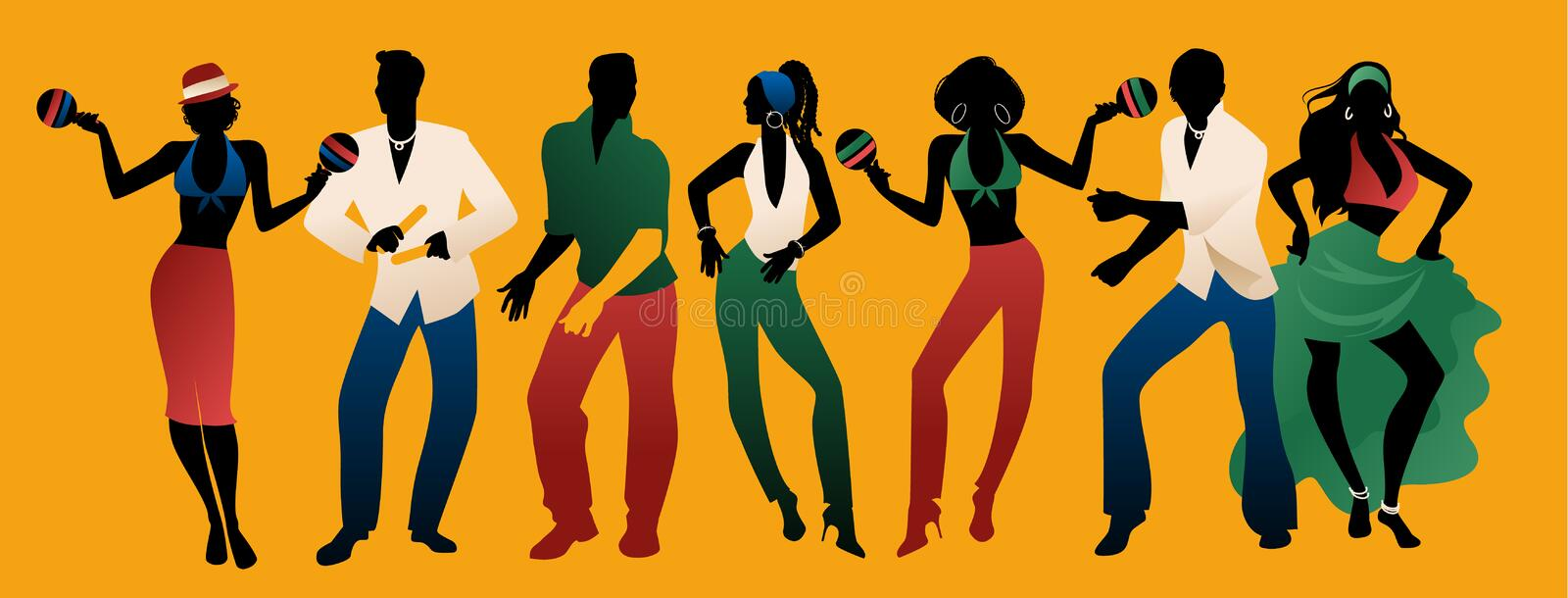 Salsa Party Time. Group of three men and four women dancing latin music. vector illustration