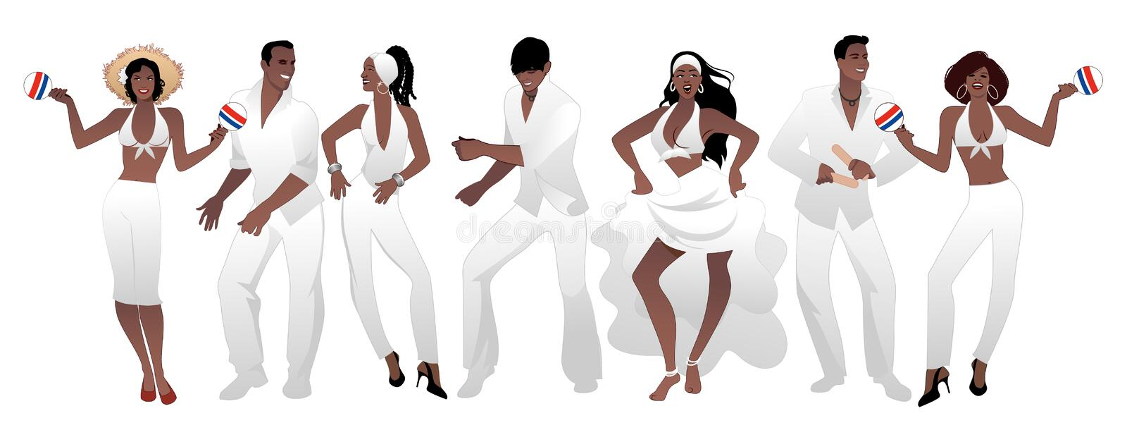 Salsa Party Time. Group of three men and four women dancing latin music. Two girls playing maracas and man playing the Claves. Group isolated on white vector illustration