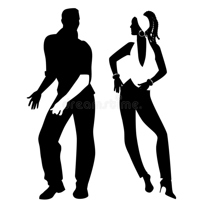 Salsa Party Time. Young couple dancing latin music royalty free illustration