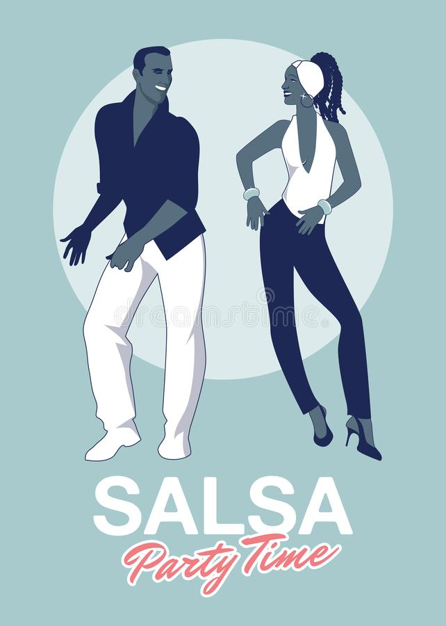 Salsa Party Time. Young couple dancing latin music stock illustration