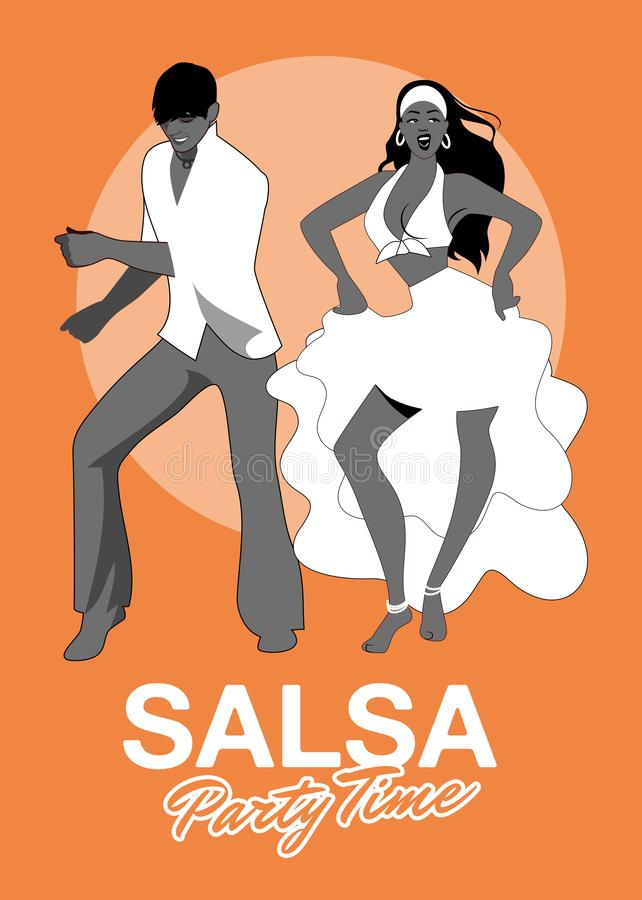 Salsa Party Time. Young couple dancing latin music vector illustration