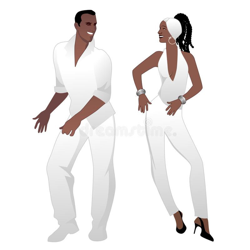 Salsa Party Time. Young couple dancing latin music. Salsa, merengue, mambo, bachata stock illustration