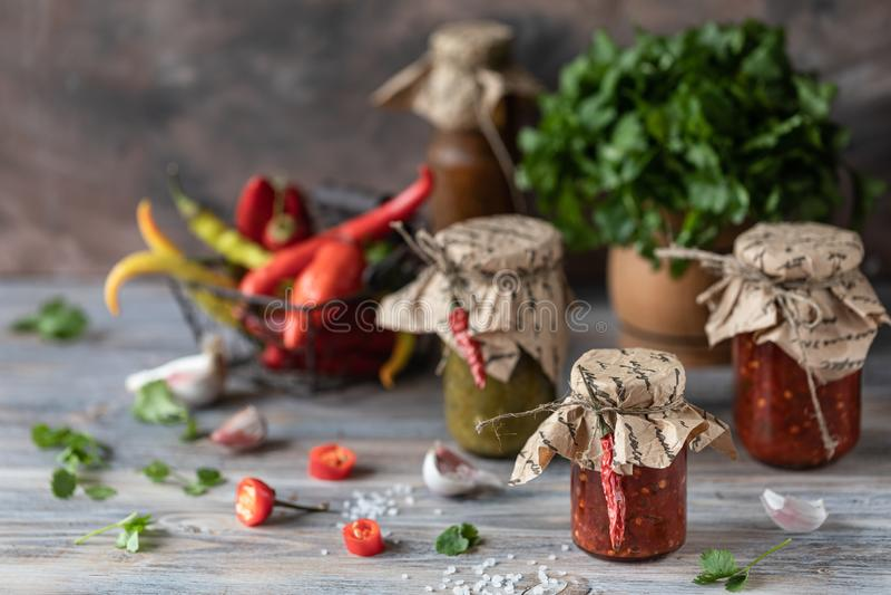 Salsa piccante pronta in barattoli di vetro dei peperoncini rossi e verdi fotografia stock libera da diritti