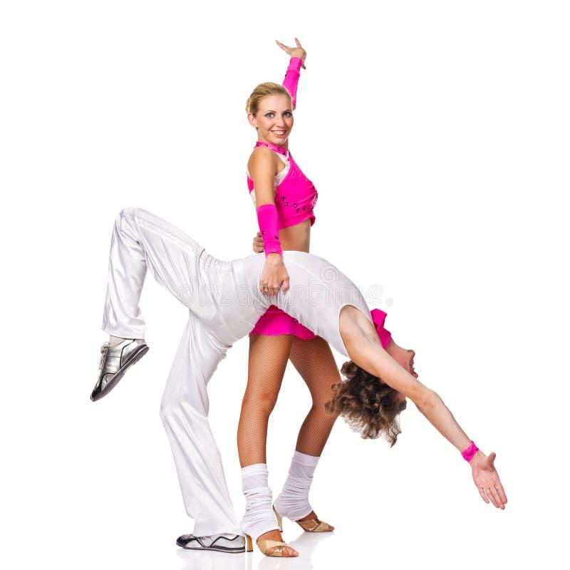Salsa sensuale di dancing delle coppie. fotografie stock