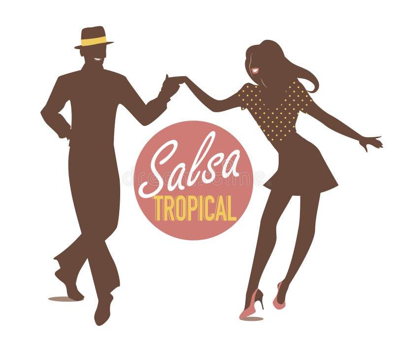 Salsa Tropical silhouettes vector illustration