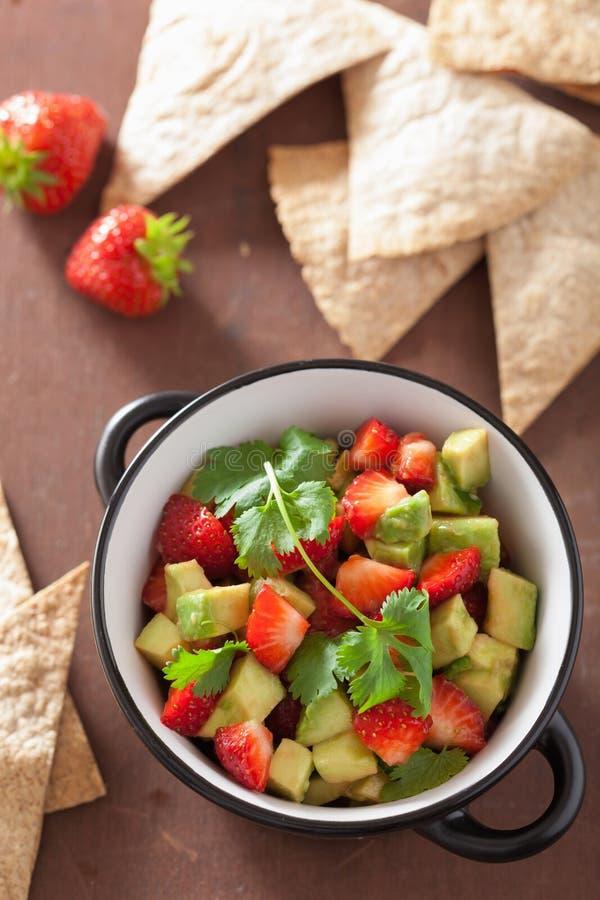 Salsa van de avocadoaardbei met tortillaspaanders royalty-vrije stock afbeelding