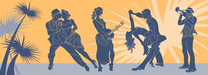 Salsadansvektor Tangoparvektor Pardanssalsa Argentinsk tango Latino för rengöringsdukbakgrundssalsa Baner för salsamusikparti stock illustrationer