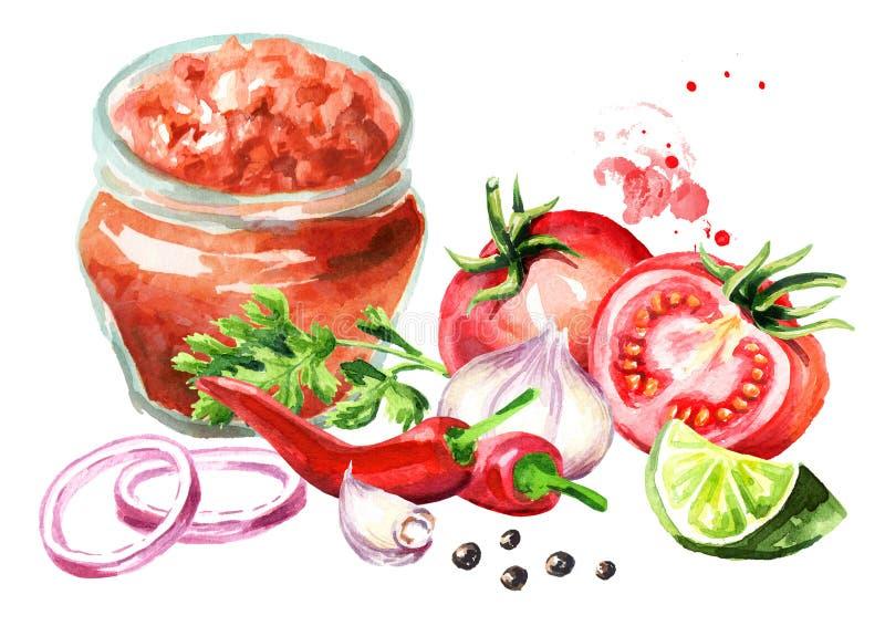 Salsasaus in de fles met alle ingrediënten Waterverfhand getrokken die illustratie op witte achtergrond wordt geïsoleerd stock illustratie