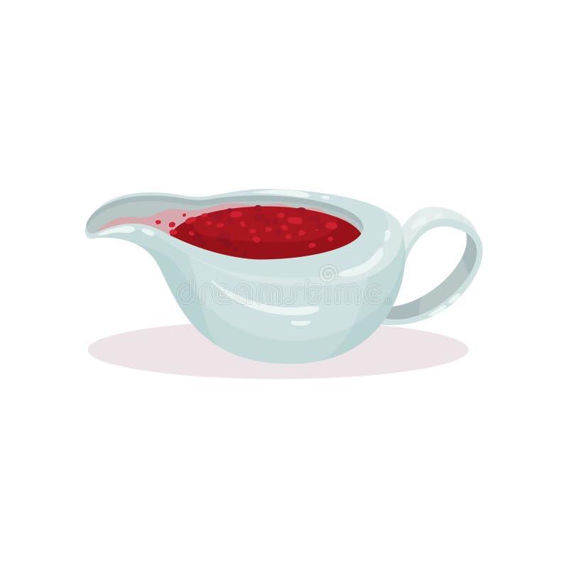 Salsera con la salsa de arándano, ejemplo tradicional del vector de la comida de la Navidad en un fondo blanco libre illustration