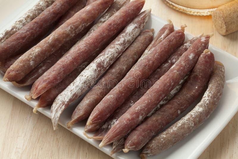 Salsicce di maiale secche belga fotografie stock