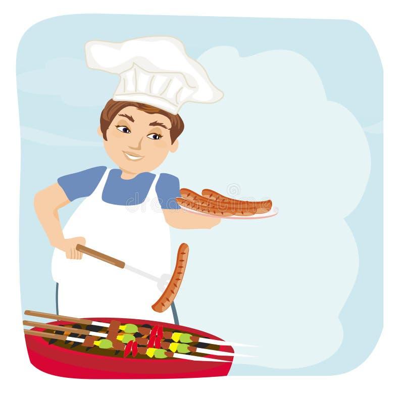 Salsiccia al forno dell'uomo sulla griglia illustrazione di stock