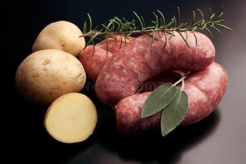Salsiccia - carne suina cruda piccante fotografie stock libere da diritti