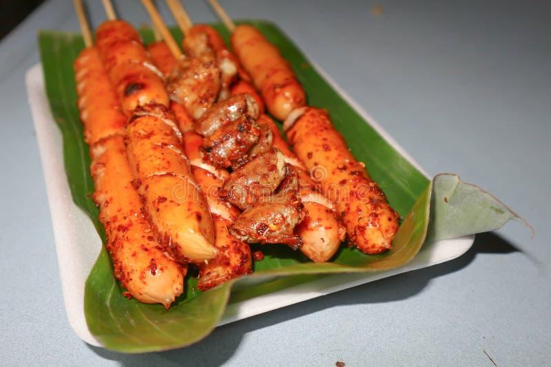 Salsiccia del barbecue o salsiccia arrostita fotografia stock libera da diritti