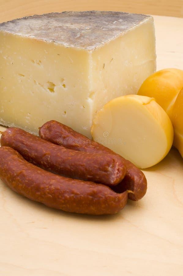 Salsiccia del salame e del formaggio immagine stock libera da diritti
