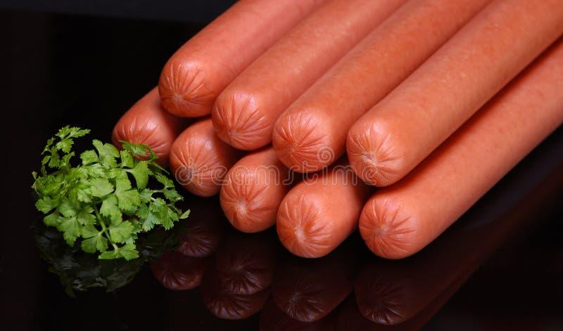 Salsiccia di Francoforte (hot dog grezzo) fotografia stock libera da diritti