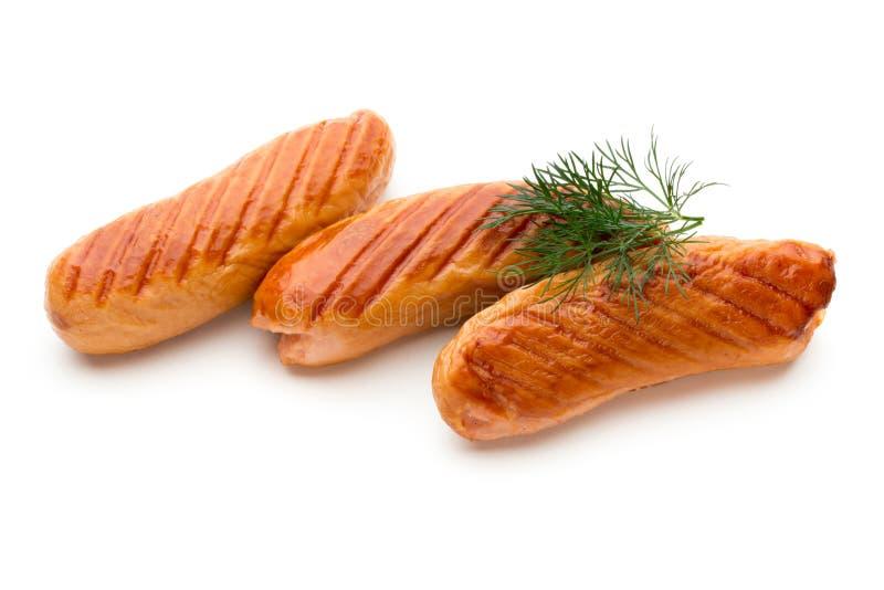 Salsiccia di maiale isolata su fondo bianco fotografie stock