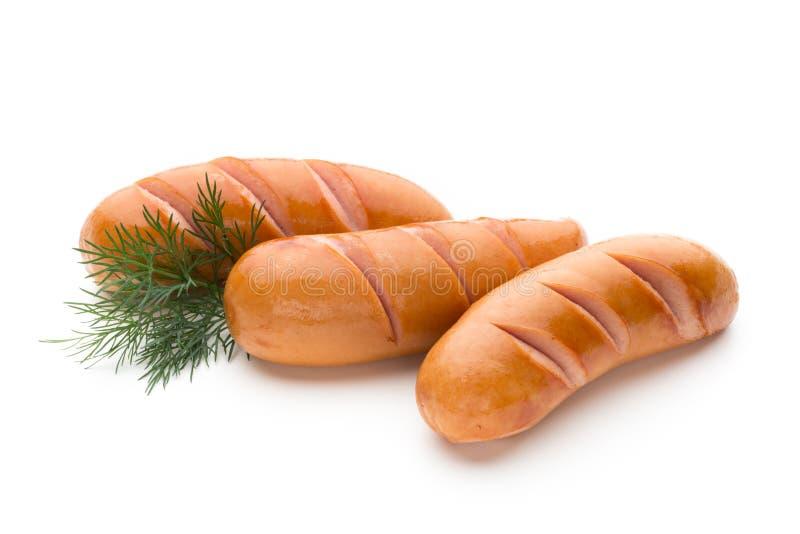 Salsiccia di maiale isolata su fondo bianco fotografia stock